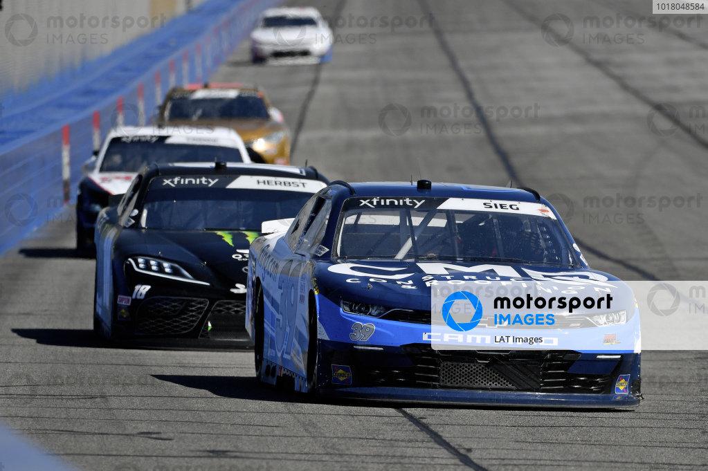 #39: Ryan Sieg, RSS Racing, Chevrolet Camaro CMR Roofing, #18: Riley Herbst, Joe Gibbs Racing, Toyota Supra Monster