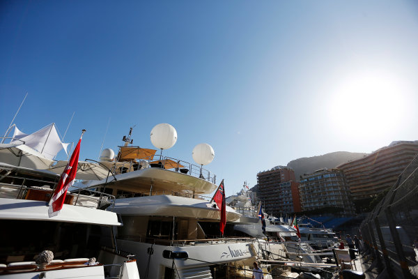 Monte Carlo, Monaco. Wednesday 20 May 2015. Yachts in the harbour. World Copyright: Charles Coates/LAT Photographic. ref: Digital Image _N7T0701