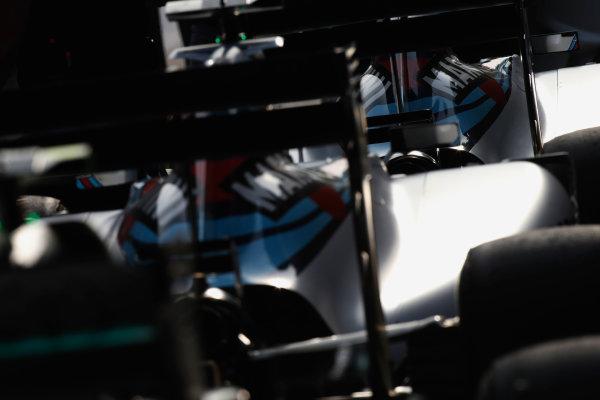 Shanghai International Circuit, Shanghai, China. Saturday 11 April 2015. The cars of Felipe Massa, Williams FW37 Mercedes, and Valtteri Bottas, Williams FW37 Mercedes, in Parc Ferme. World Copyright: Glenn Dunbar/LAT Photographic. ref: Digital Image _W2Q4357