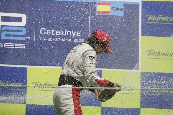 2008 GP2 Series. Round 1. Sunday Race.Barcelona, Spain. 27th April 2008Kamui Kobayashi (JPN, Dams) celebrates his victory on the podium. World Copyright: Alastair Staley/GP2 Series Media Service.ref:__P9O6156 jpg