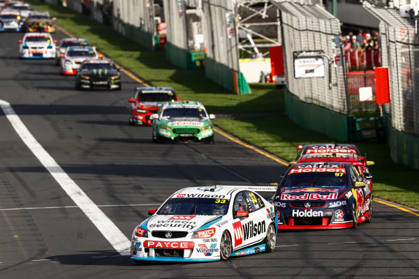Australian Supercars Series Albert Park, Melbourne, Australia. Friday 24 March 2017. Race 2. Garth Tander, No.33 Holden Commodore VF, Wilson Security Racing GRM, leads Shane van Gisbergen, No.97 Holden Commodore VF, Red Bull Holden Racing Team. World Copyright: Zak Mauger/LAT Images ref: Digital Image _56I5889