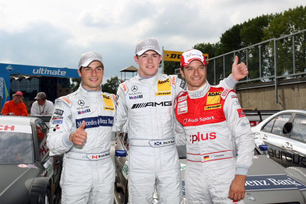 04.09.2010, Brands Hatch, England - top three after the qualifying (l-r) Bruno Spengler (CDN), Mercedes-Benz Bank AMG, Mercedes-Benz Bank AMG C-Klasse (2009) (2nd), Paul Di Resta (GBR), AMG Mercedes, AMG Mercedes C-Klasse (2009) (1st) and Timo Scheider (GER), Audi Sport Team Abt, GW:plus/Top Service Audi A4 DTM (2009) (3rd) - DTM 2010 - Deutsche Tourenwagen Masters 7th Round at Brands Hatch - © Copyright: Stange/RACE-PRESS.com