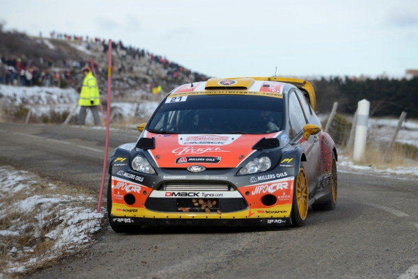 Martin Prokop (CZE) and Michal Ernst (CZE), Ford Fiesta RS WRC on stage 3. FIA World Rally Championship, Rd1, Rally Monte Carlo, Day One, Monte Carlo, 16 January 2013.