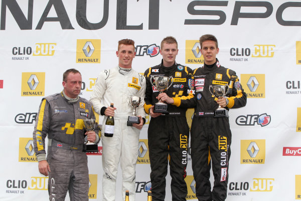 2013 Renault Clio Cup, Rockingham, Northamptonshire. 13th - 15th September 2013. Race 2 Podium (l-r) Peter Felix (GBR) 20Ten Racing Renault Clio Cup, Ash Hand (GBR) Team Pyro Renault Clio Cup, Ant Whorton Eales (GBR) KX Racing with Scuderia Vittoria Renault Clio Cup, Josh Files (GBR) Team Pyro Renault Clio Cup. World Copyright: Ebrey / LAT Photographic.