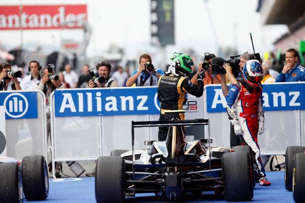 Circuit de Catalunya, Barcelona, Spain. 13th May 2012. Sunday Race. Conor Daly (USA, Lotus GP) celebrates his victory. World Copyright: Alastair Staley/GP3 Media Service. Ref: Digital Image AS5D1735.jpg