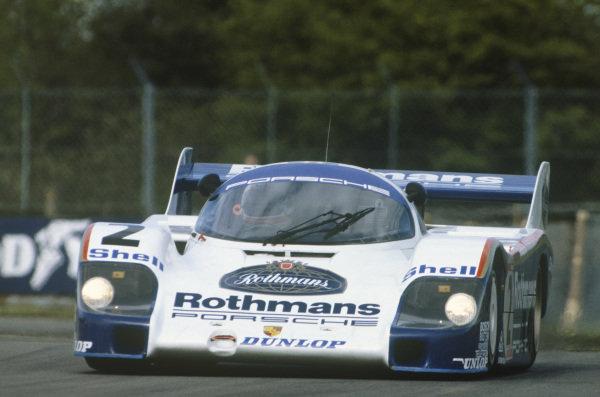 Silverstone, England. 8th May 1983. Rd 2.Stefan Bellof/Derek Bell (Porsche 956), 1st position, action. World Copyright: LAT Photographic.Ref:  83SIL01