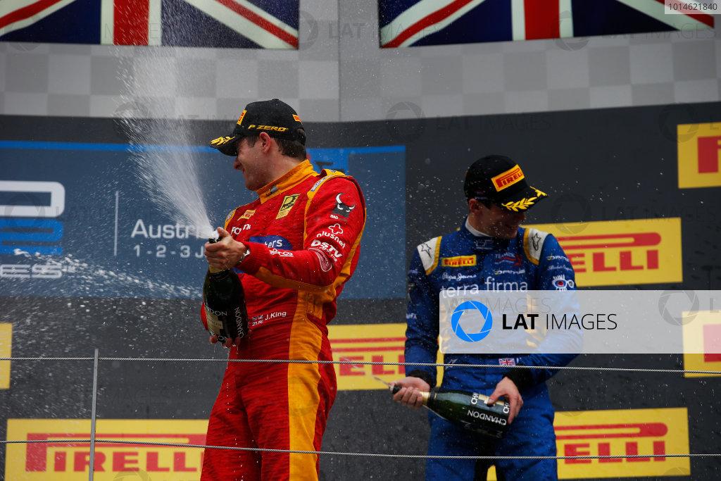 2016 GP2 Series Round 4 Red Bull Ring, Spielberg, Austria. Sunday 3 July 2016. Jordan King (GBR, Racing Engineering) & Alex Lynn, (GBR, DAMS)  Photo: Sam Bloxham/GP2 Series Media Service. ref: Digital Image _SLA9984