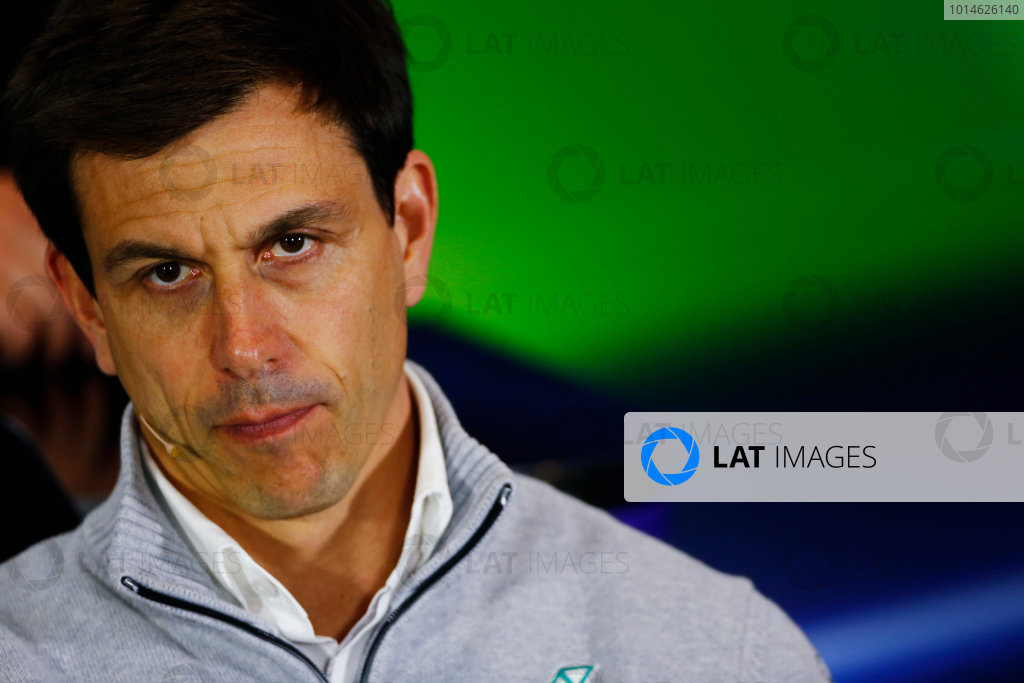 Silverstone, Northamptonshire, UK Friday 08 July 2016. Toto Wolff, Executive Director (Business), Mercedes AMG, in the Team Principals Press Conference. World Copyright: Andy Hone/LAT Photographic ref: Digital Image _ONY8138
