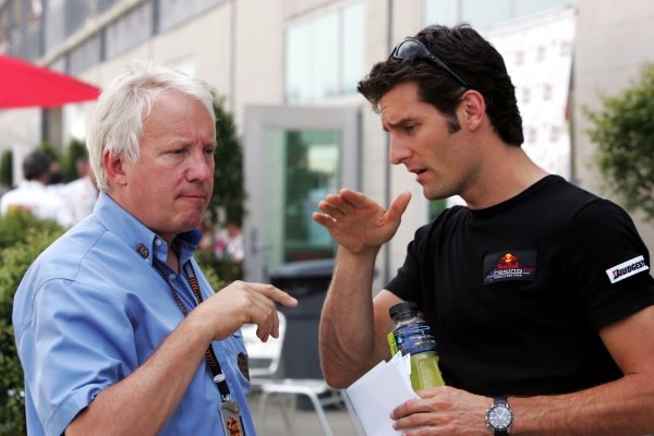 (L to R): Charlie Whiting (GBR) FIA Delegate with Mark Webber (AUS) Red Bull Racing.