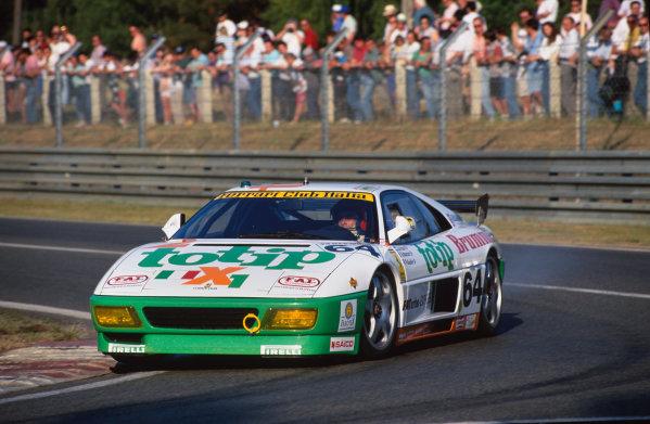 1994 Le Mans 24 Hours. Le Mans, France. 18th - 19th June 1994. Oscar Larrauri/Fabio Mancini/Joel Gouhier (Ferrari 348 GTC-LM), retired, action.  World Copyright: LAT Photographic. Ref:  94LM23
