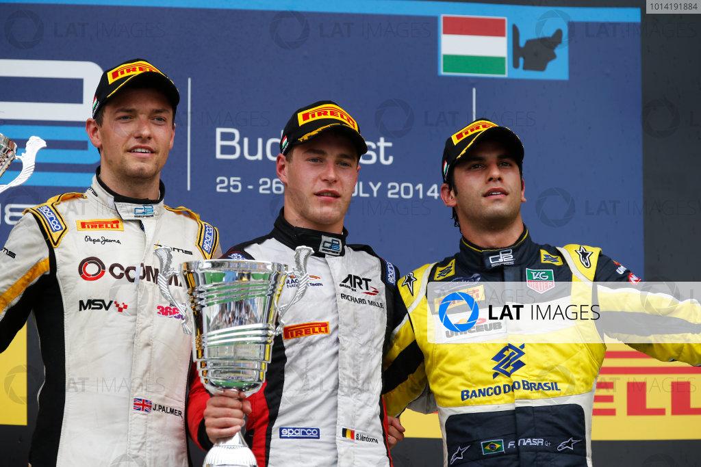 2014 GP2 Series Round 7. Hungaroring, Budapest, Hungary. Sunday 27 July 2014. Stoffel Vandoorne (BEL, ART Grand Prix), Jolyon Palmer (GBR, DAMS) & Felipe Nasr (BRA, Carlin)  Photo: Sam Bloxham/GP2 Series Media Service. ref: Digital Image _89P9812