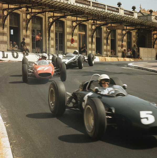Monte Carlo, Monaco.23-26 May 1963.Richie Ginther (BRM P57) leads John Surtees (Ferrari Dino 156) and Bruce McLaren (Cooper T66 Climax). They finished in 2nd, 4th and 3rd positions respectively.Ref-3/0930.World Copyright - LAT Photographic