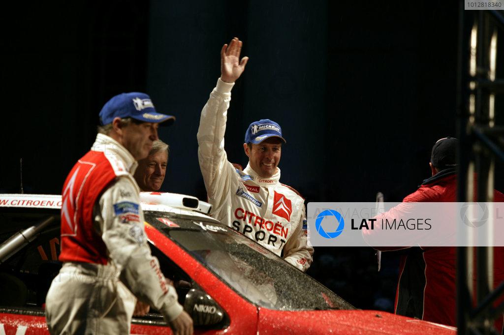 2003 FIA World Rally Champs. Round fourteen Wales Rally GB 6th-9th November 2003.Colin McRae, Citroen, podium.World Copyright: McKlein/LAT
