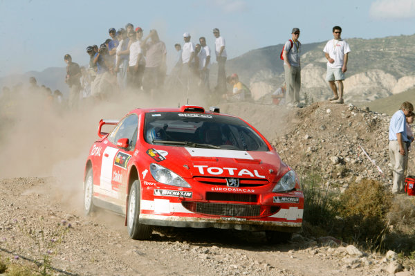 2004 FIA World Rally Champs. Round five, Cyprus Rally.14th- 16th May 2004.Harri Rovanpera, Peugeot, action.World Copyright: McKlein/LAT
