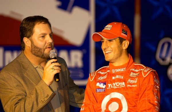 IRL IndyCar Series Bombardier 500 at Texas Motor Speedway, Ft Worth, Texas, USA 7 June,2003Tomas Scheckter receives the pole award from Eddie Gossage.World Copyright-F Peirce Williams 2003 LAT Photographicref: Digital Image Only