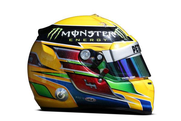 Albert Park, Melboune 14th March 2013 The helmet of Lewis Hamilton, Mercedes AMG. World Copyright: LAT Photographic ref: Digital Image DKAL8839