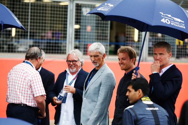 Williams 40 Event Silverstone, Northants, UK Friday 2 June 2017. Nigel Mansell, Riccardo Patrese, Keke Rosberg, Damon Hill, Nico Rosberg, Karun Chandhok and David Coulthard. World Copyright: Joe Portlock/LAT Images ref: Digital Image _L5R0414