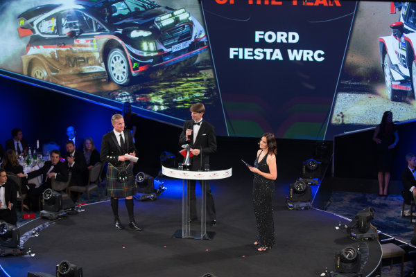 2017 Autosport Awards Grosvenor House Hotel, Park Lane, London. Sunday 3 December 2017. Malcolm Wilson accepts the Rally Car of the Year Award for the Ford Fiesta RS WRC. World Copyright: Joe Portlock/LAT Images  ref: Digital Image _L5R8537