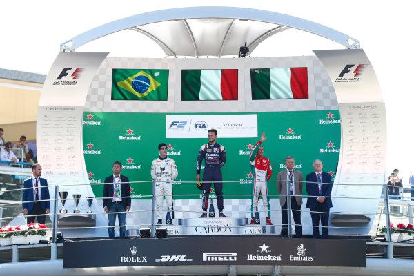 2017 FIA Formula 2 Round 9. Autodromo Nazionale di Monza, Monza, Italy. Sunday 3 September 2017. Sergio Sette Camara (BRA, MP Motorsport), Luca Ghiotto (ITA, RUSSIAN TIME), Antonio Fuoco (ITA, PREMA Racing).  Photo: Sam Bloxham/FIA Formula 2. ref: Digital Image _J6I4673