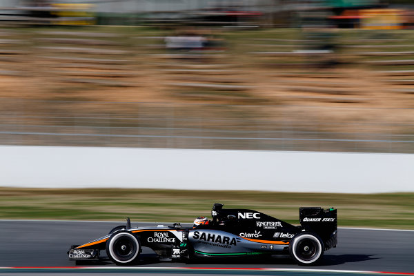 2015 F1 Pre Season Test 3 - Day 2 Circuit de Catalunya, Barcelona, Spain. Friday 27 February 2015. Nico Hulkenberg, Force India VJM08 Mercedes. World Copyright: Sam Bloxham/LAT Photographic. ref: Digital Image _14P3274