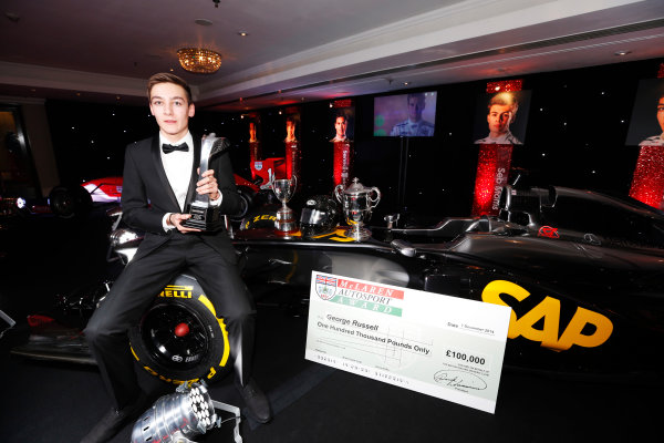 2014 Autosport Awards. Grosvenor House Hotel, Park Lane, London. Sunday 7 December 2014. George Russell wins the 2014 McLaren AUTOSPORT BRDC Award. World Copyright: Sam Bloxham/LAT Photographic. ref: Digital Image _14P4024