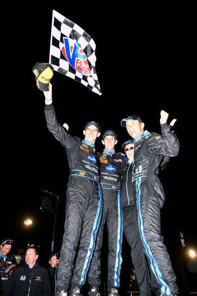 1-4 October, 2014, Braselton, Georgia USA 10, Chevrolet, Corvette DP, P, Ricky Taylor, Jordan Taylor, Wayne Taylor, Max Angelelli celebrate their win in Victory Lane ©2014, Nigel Kinrade LAT Photo USA