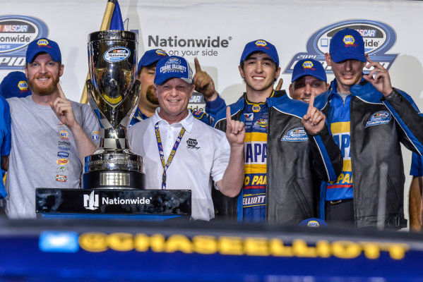 14-16 November, 2014, Homestead, Florida USA Chase Elliott celebrates his 2014 Nationwide Championship. ?2014, Andy Frame LAT Photo USA