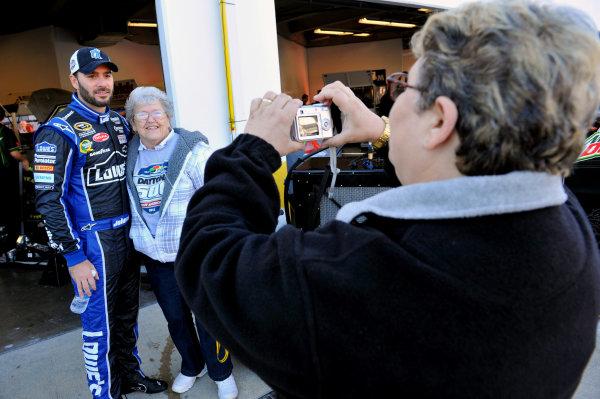 12-14 January 2012, Daytona Beach, Florida, USAJimmie Johnson with fans(c)2012, Nigel KinradeLAT Photo USA
