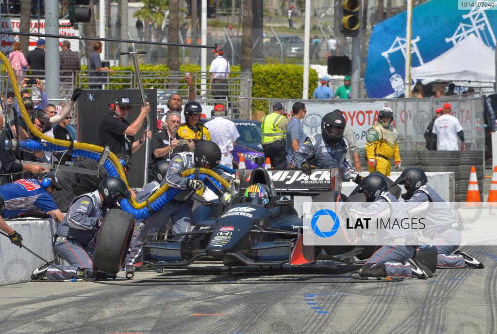 11-13 April, 2014, Long Beach, California USA #16 Oriol Servia Rahal Letterman Lanigan Racing pitstop ©2014, Dan R. Boyd Lat Photo USA