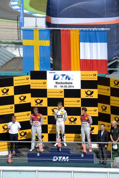 2014 DTM Championship Round 1 - Hockenheim, Germany 3rd - 4th May 2014  Podium, Mattias Ekström (SWE) Audi Sport Team Abt Sportsline, Audi RS 5 DTM, Marco Wittmann (GER) BMW Team RMG, BMW M4 DTM, Adrien Tambay (FRA) Audi Sport Team Abt, Audi RS 5 DTM, World Copyright: XPB Images / LAT Photographic  ref: Digital Image 3083266_HiRes