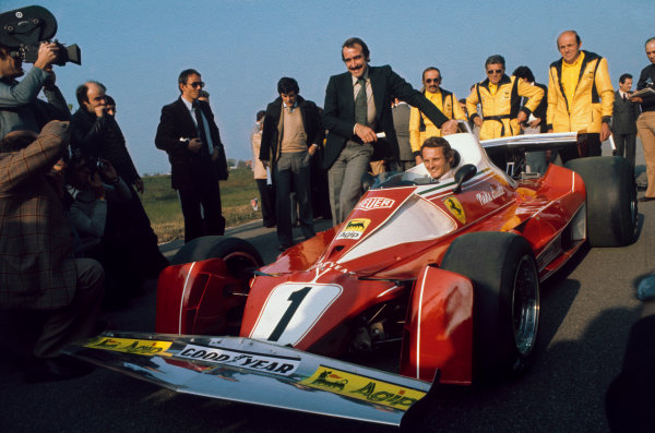 Fiorano Circuit, Maranello, Italy.Niki Lauda and team mate, Clay Regazzoni at the launch of the Ferrari 312T2, portrait. World Copyright: LAT Photographic.Ref:  Colour Transparency.