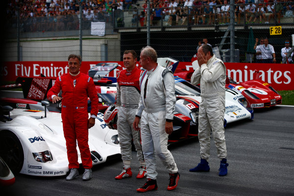Red Bull Ring, Spielberg, Austria. Sunday 9 July 2017. Jean Alesi, Helmut Markko, Consultant, Red Bull Racing, Tom Kristensen and Gerhard Berger on the grid for the Legends Parade. Photo: Andrew Hone/McLaren ref: Digital Image _ONZ1292