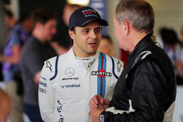 Williams 40 Event Silverstone, Northants, UK Friday 2 June 2017. Felipe Massa talks to Martin Brundle. World Copyright: Zak Mauger/LAT Images ref: Digital Image _54I0793
