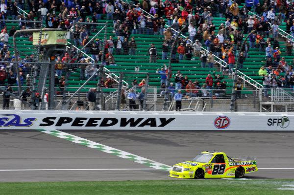 19-20 April, 2013, Kansas City, Kansas USA Matt Crafton crosses the finish line for the win ©2013, Scott R LePage LAT Photo USA