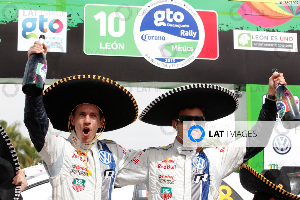 2013 World Rally Championship Rally Mexico 7th - 10th March 2013 Sebastien Ogier, Julien Ingrassia, VW, podium Worldwide Copyright: McKlein/LAT