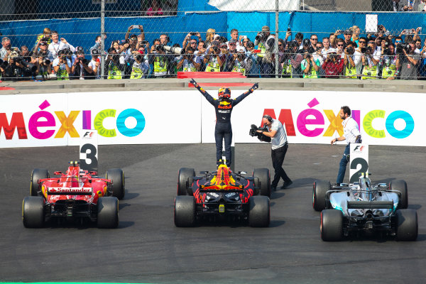 Autodromo Hermanos Rodriguez, Mexico City, Mexico. Sunday 29 October 2017. Max Verstappen, Red Bull, 1st Position, celebrates on arrival in Parc Ferme. World Copyright: Charles Coates/LAT Images  ref: Digital Image DJ5R7103