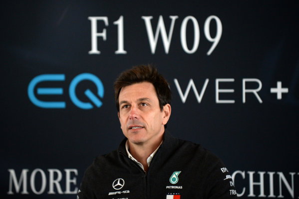 Mercedes-AMG F1 W09 EQ Power+ Launch and First Run Silverstone, England, 22 February 2018. Toto Wolff (AUT) Mercedes AMG F1 Director of Motorsport World Copyright: Simon Galloway/Sutton Images/LAT Images Photo ref: SUT_Mercedes_AMG_F_1567633