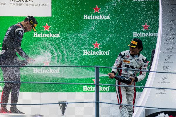 2017 FIA Formula 2 Round 9. Autodromo Nazionale di Monza, Monza, Italy. Saturday 2 September 2017. Luca Ghiotto (ITA, RUSSIAN TIME), Nobuharu Matsushita (JPN, ART Grand Prix).  Photo: Zak Mauger/FIA Formula 2. ref: Digital Image _T9I0878