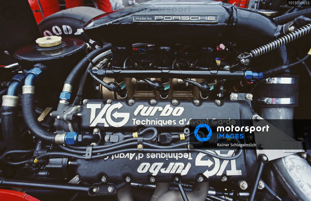 Detail view of the TAG Porsche engine in the McLaren MP4-2B.