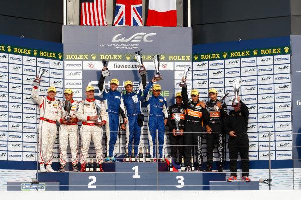 Silverstone, England. 24th - 26th August 2012. Rd 4.P2 Podium (l-r) Vicente Potolicchio (VEN)/Ryan Dalziel (GBR)/Stephane Sarrazin (FRA) Starworks Motorsport HPD ARX 03b Honda, John Martin (AUS)/Tor Graves (GBR)/Jan Charouz (CZE) ADR Delta Oreca 03 Nissan, Pierre Ragues (FRA)/Nelson Panciatici (FRA)/Roman Rusinov (RUS) Signatech Nissan Oreca 03 Nissan.World Copyright: Ebrey/LAT Photographic.