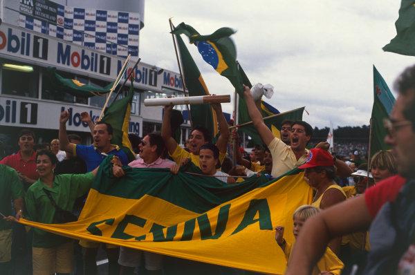Hockenheim, Germany. 22nd - 24th July 1988. Senna fans at the podium. Atmosphere.  World Copyright: LAT Photographic. Ref: CC