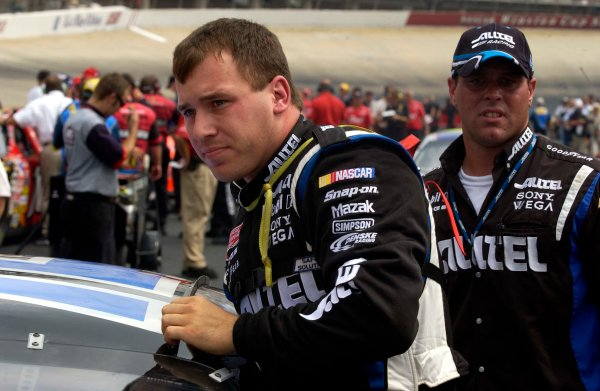 2003 NASCAR-Sharpie 500. Bristol Tenn USA,Aug 22-23,Ryan Newman getting out of his car after qualifying,World Copyright -RobertLeSieur ,July,2003LAT Photographic-ref: digital image