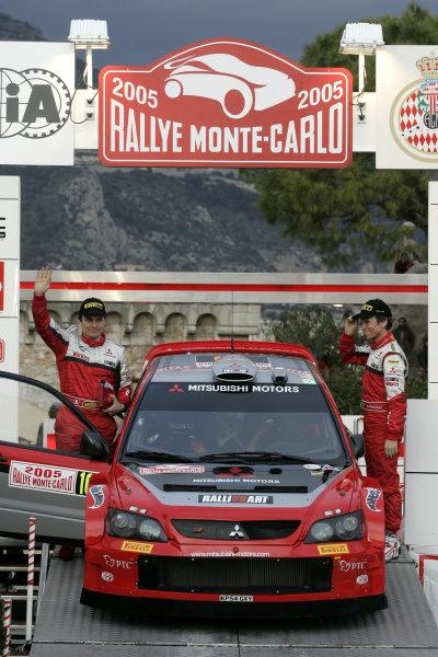2005 FIA World Rally Champs. Round one, Rally Monte Carlo 20th-23rd January 2005. Gilles Panizzi, Mitsubishi, podium World Copyright: McKlein/LAT