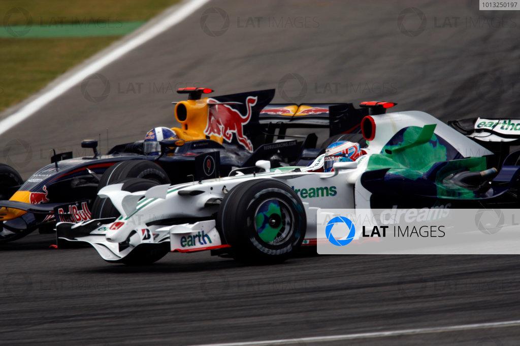 Hockenheimring, Hockenheim, Germany.20th July 2008.David Coulthard, Red Bull Racing RB4 Renault, 13th position, passes Jenson Button, Honda RA108, 17th position. Action. World Copyright: Andrew Ferraro/LAT Photographic.ref: Digital Image _H0Y8476