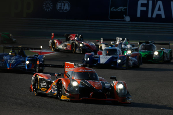 2015 FIA World Endurance Championship Bahrain 6-Hours Bahrain International Circuit, Bahrain Saturday 21 November 2015. Gustavo Yacaman, Luis Felipe Derani, Ricardo Gonzalez (#28 LMP2 G-Drive Racing Ligier JS P2 Nissan) leads Nelson Panciatici, Paul Loup Chatin, Tom Dillmann (#36 LMP2 Signatech Alpine Alpine A450B Nissan) and Mikhail Aleshin, Nicolas Minassian, David Markozov (#44 LMP2 AF Racing BR01 Nissan). World Copyright: Alastair Staley/LAT Photographic ref: Digital Image _79P0161