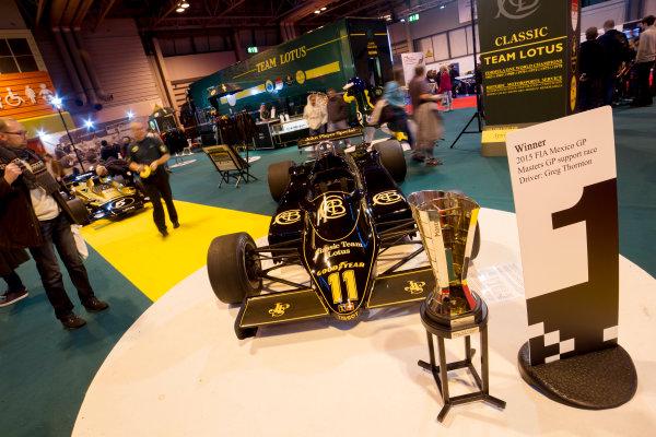 Autosport International Exhibition.  National Exhibition Centre, Birmingham, UK. Saturday 16 January 2016.  The Classic Team Lotus stand. World Copyright: Mike Hoyer/LAT Photographic. ref: Digital Image EL0G8650