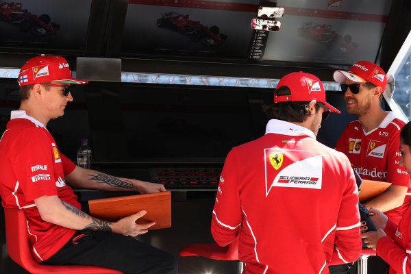 Sochi Autodrom, Sochi, Russia. Thursday 27 April 2017. Kimi Raikkonen, Ferrari SF70H. and Sebastian Vettel, Ferrari SF70H.  World Copyright: Coates/LAT Images ref: Digital Image DJ5R0015