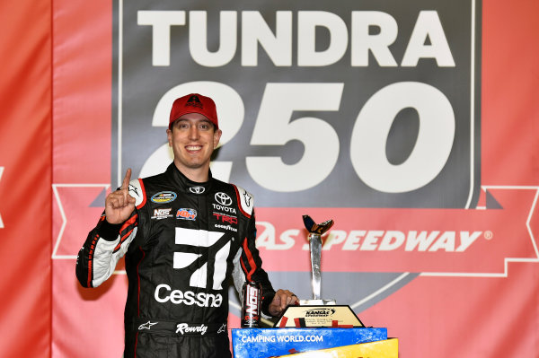 NASCAR Camping World Truck Series Toyota Tundra 250 Kansas Speedway, Kansas City, KS USA Friday 12 May 2017 Kyle Busch, Cessna Toyota Tundra celebrates his win in Victory Lane World Copyright: Nigel Kinrade LAT Images ref: Digital Image 17KAN1nk07191