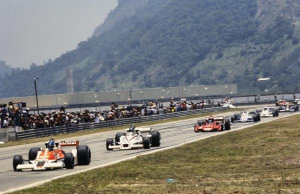 Patrick Tambay, McLaren M26 Ford leads Hans-Joachim Stuck, Shadow DN8 Ford and John Watson, Brabham BT45C Alfa Romeo.