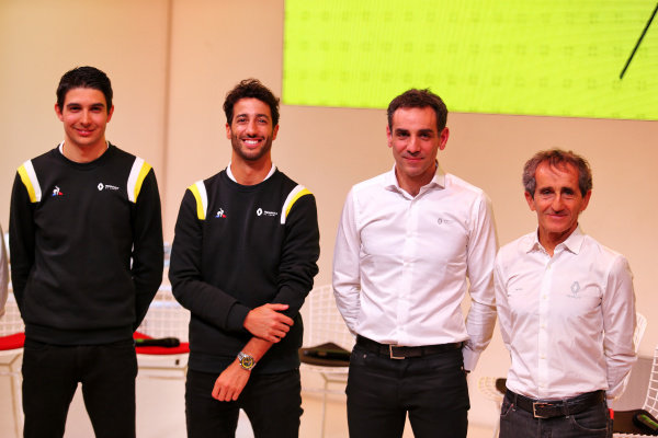 (L to R): Esteban Ocon (FRA) Renault F1 Team; Daniel Ricciardo (AUS) Renault F1 Team; Cyril Abiteboul (FRA) Renault Sport F1 Managing Director; Alain Prost (FRA) Renault F1 Team Non-Executive Director. Copyright: James Moy/XPB/Renault F1